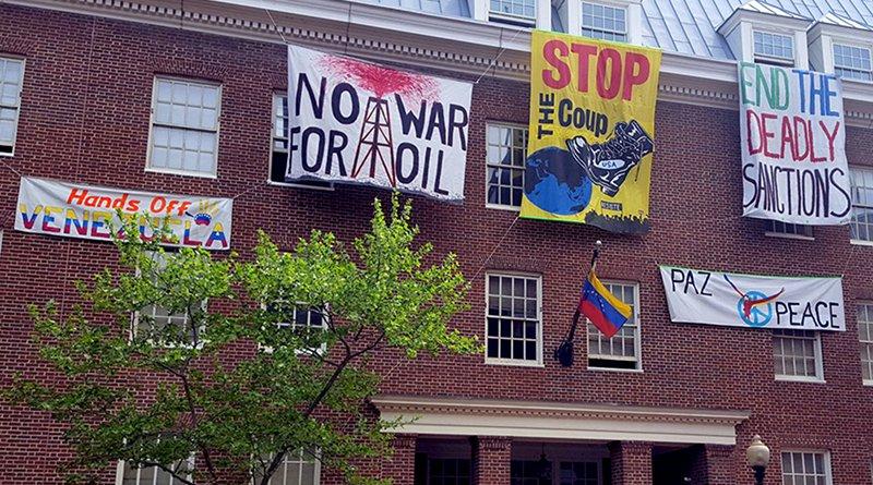 Activists in Venezuela embassy in Washington DC. Photo Credit: popularresistance.org