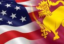 Flags of United States and Sri Lanka