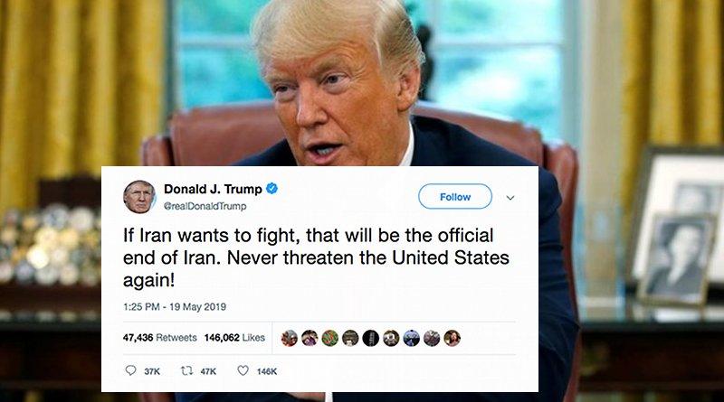 US President Donald Trump warns Iran in a tweet.