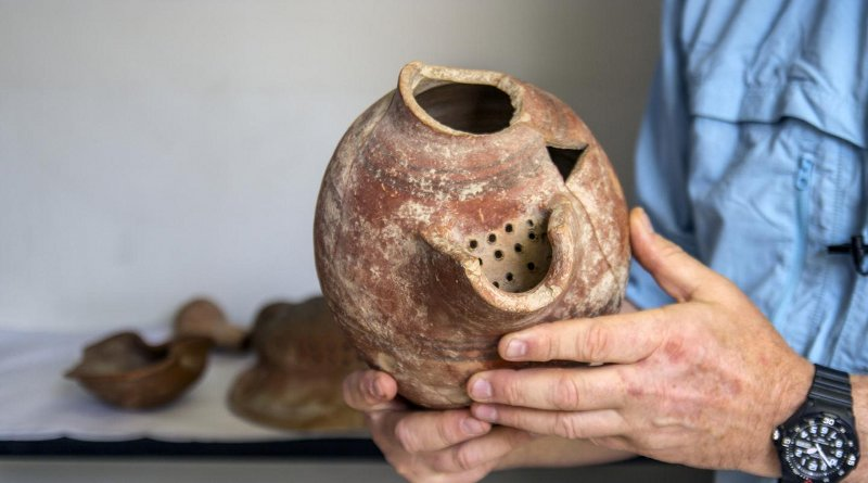 Beer cruse from Tel Tzafit/Gath archaeological digs, from which Philistine beer was produced. Credit Yaniv Berman/Israel Antiquities Authority.
