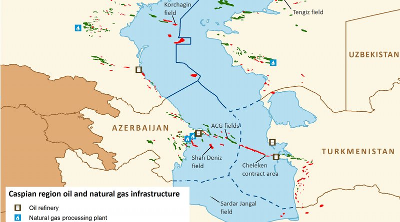 Caspian region oil and gas infrastructure. Source: EIA