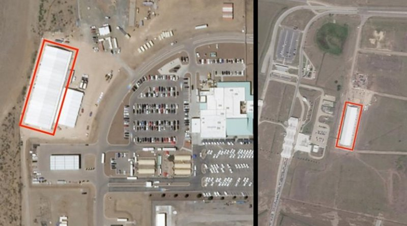 Satellite images taken on April 25, 2019 show rapid construction activity in anticipation of increased family and child detention in tents built at the El Paso and Donna, Texas Border Patrol Stations since April 14, 2019. The new tents are highlighted in red. A Border Patrol official told the New York Times the agency could hold families for up to 20 days. Human Rights Watch will monitor changes in construction activity at these sites in coming weeks. ©2019 Planet Labs; Source: Human Rights Watch