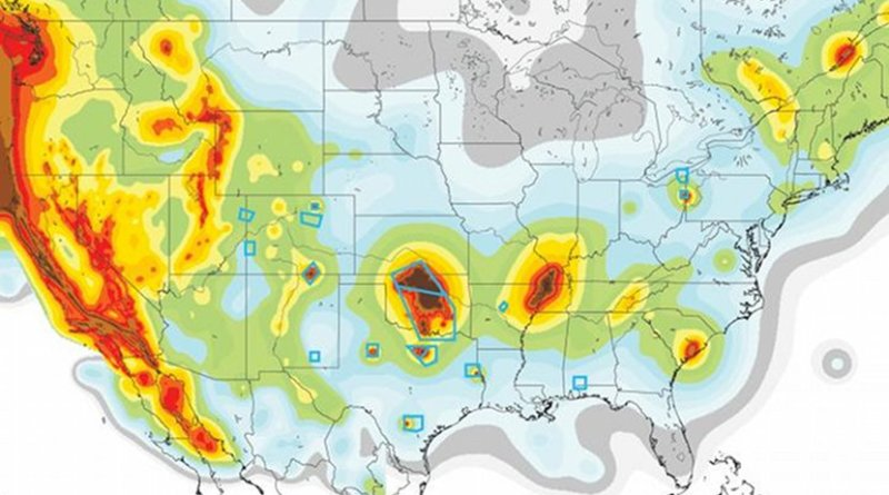 USGS map highlights earthquake risk zones. Blue boxes indicate areas of high activity of human-caused earthquake due to deep bore fluid injection. Credit USGS