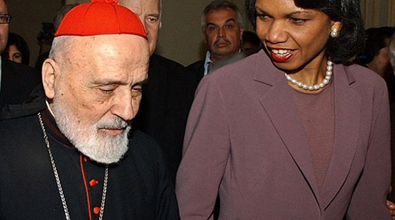 Patriarch Sfeir with US Secretary of State Condoleezza Rice in 2006. Photo Credit: US State Dept.