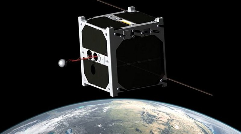 Artistic illustration of ESTCube-1, the first Estonian satellite. Photo Credit: Erik Kulu - University of Tartu, ESTCUBE team, Wikipedia Commons.