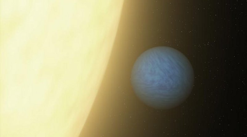An artist's concept of super-Earth planet 55 Cancri e, which races around its host star once every 18 hours. New research led by Penn State astronomers improves our understanding of how large super-Earth planets with small, quick orbits form. Credit NASA/JPL-Caltech