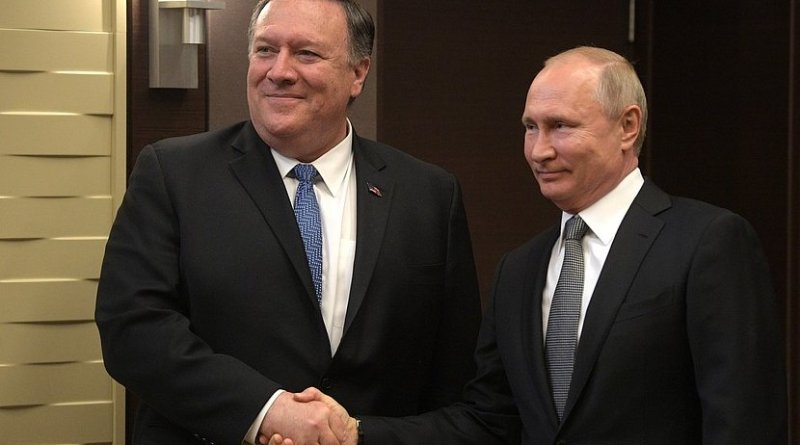 US Secretary of State Mike Pompeo with Russia's President Vladimir Putin. Photo Credit: Kremlin.ru