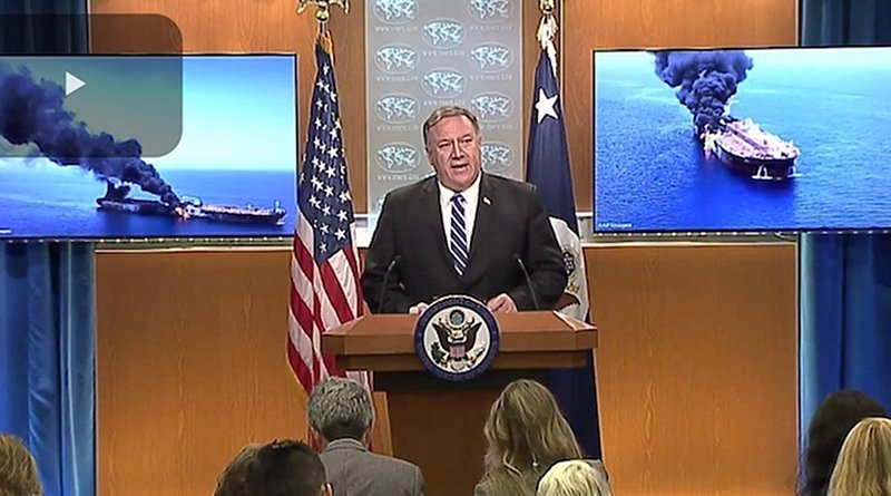 Screenshot of U.S. Secretary of State Michael R. Pompeo briefing the press in Washington, DC on June 13, 2019. Credit: U.S. State Department