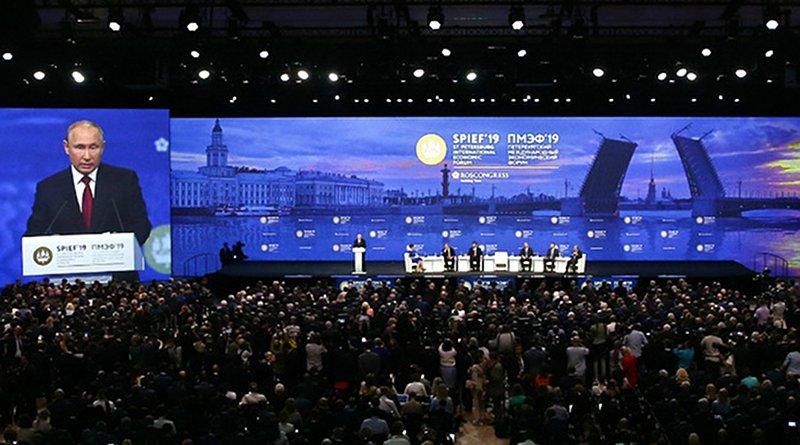 Russia's President Vladimir Putin speaking at the the 23rd St. Petersburg International Economic Forum (SPIEF). Photo Credit: Kremlin.ru
