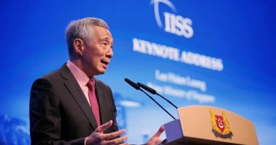 Singapore Prime Minister (PM) Lee Hsien Loong speaking at 18th Shangri-La Dialogue. Photo Credit: 18th Shangri-La Dialogue website