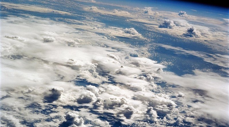 Clouds from deep convection over the tropical Pacific ocean, photographed by the space shuttle. Such convective activity drives the Hadley circulation of the atmosphere.