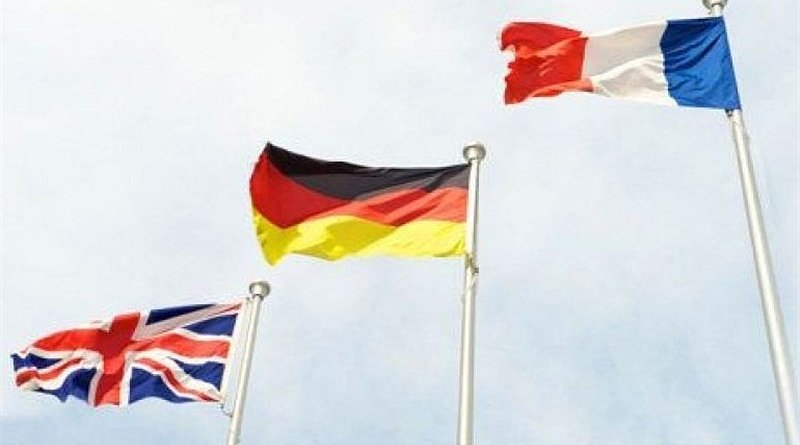 Flags of United Kingdom, Germany and France. Photo Credit: Tasnim News Agency