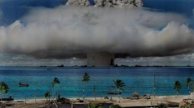 The United States used the Marshall Islands as a testing ground for 67 nuclear weapon tests from 1946 to 1958, causing human and environmental catastrophes that persist to this day. Credit World Future Council