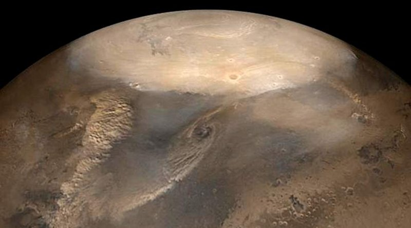 Dust storms on Mars could behave similarly to dry cyclones. Credit NASA/JPL/Malin Space Science Systems photo