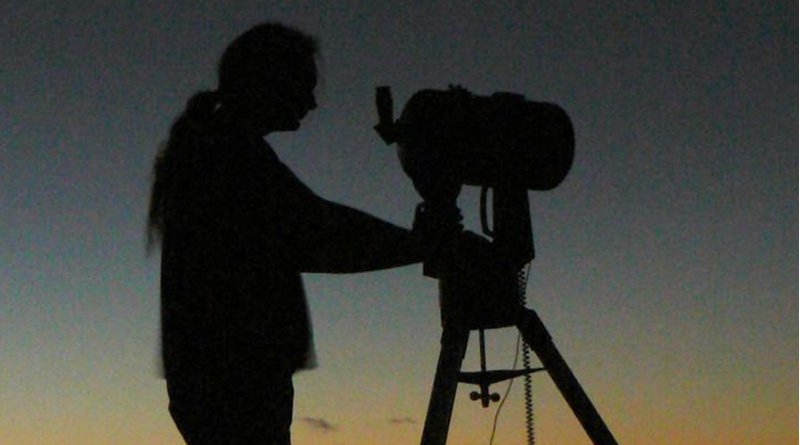 Member of Basingstoke Astronomical Society has his eyes on the sky. Credit Dstl