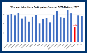 Working women: Turkish women pursue education, yet their workforce participation rate remains low (OECD)
