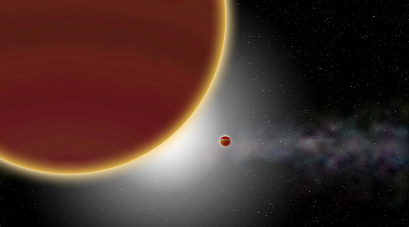 At least two giant planets, aged 20 million years at most, orbit around the star (which is hidden): β Pictoris c, the nearest one, which has just been discovered, and β Pictoris b, which is more distant. The disk of dust and gas can be seen in the background. CREDIT P Rubini / AM Lagrange