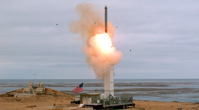 An August 18 photo provided by the U.S. Defense Department shows the launch of a conventionally configured ground-launched cruise missile on San Nicolas Island off the coast of California. Photo CreditL Scott Howe, US Defense Department