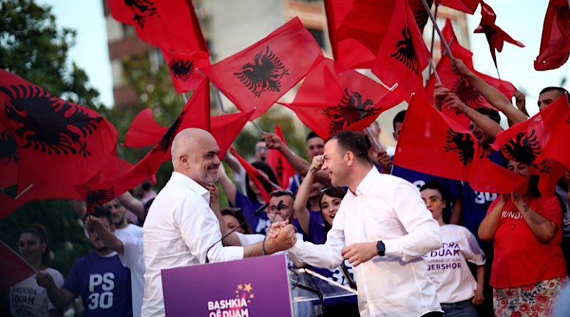Albanian Prime Minister Edi Rama (left) and the now resigned Mayor of Shkodra Valdrin Pjetri, during the Socialist Party election campaign. Photo: Facebook