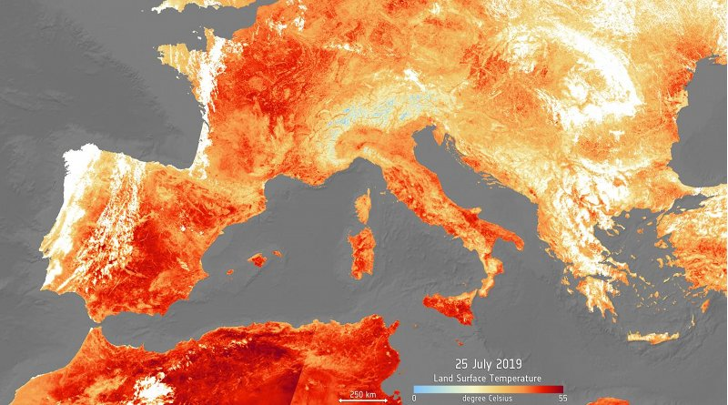 This is a satellite image of the heat energy emitted from Europe during 25 July 2019 shows this summer's highest extremes. Credit Copernicus Sentinel data (2019) ESA - Copernicus Sentinel data (2019)