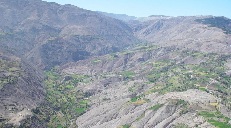 This is the agricultural landscape of the Torata Valley, Peru dating 600 AD - present. Credit Ryan Williams, Field Museum