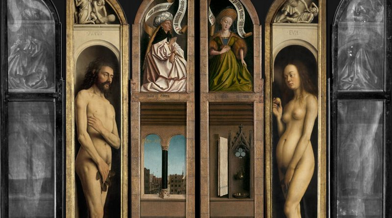 The two double-sided panels from the Ghent Altarpiece along with their x-ray images which include the combined contributions from both sides of each panel. Credit Saint-Bavo's Cathedral, www.lukasweb.be - Art in Flanders; photos: Hugo Maertens (interior view; Adam & Eve), Dominique Provost (exterior view), KIK-IRPA (x-ray).