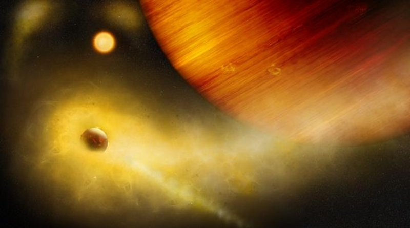 Artist's composition of a volcanic exo-Io undergoing extreme mass loss. The hidden exomoon is enshrouded in an irradiated gas cloud shining in bright orange-yellow, as would be seen with a sodium filter. Patches of sodium clouds are seen to trail the lunar orbit, possibly driven by the gas giant's magnetosphere. Credit © University of Bern, Illustration: Thibaut Roger