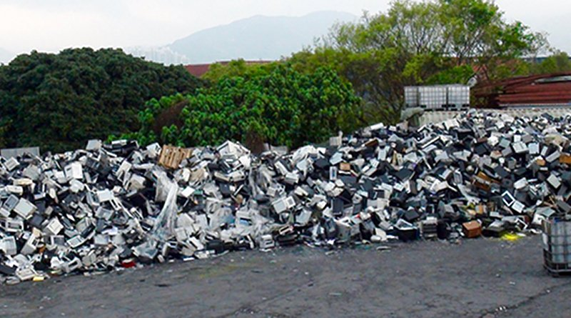 "American e-waste exported by so-called ""electronics recyclers"" dumped in hidden Hong Kong e-waste junkyard discovered by BAN GPS trackers. This trade is criminal traffic and will be illegal under the Ban Amendment which has been ratified by China. Copyright BAN, March 2016."