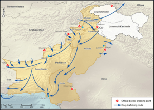 (Afghanistan-Pakistan-India Drug Route, Source: UNODC, 2015)