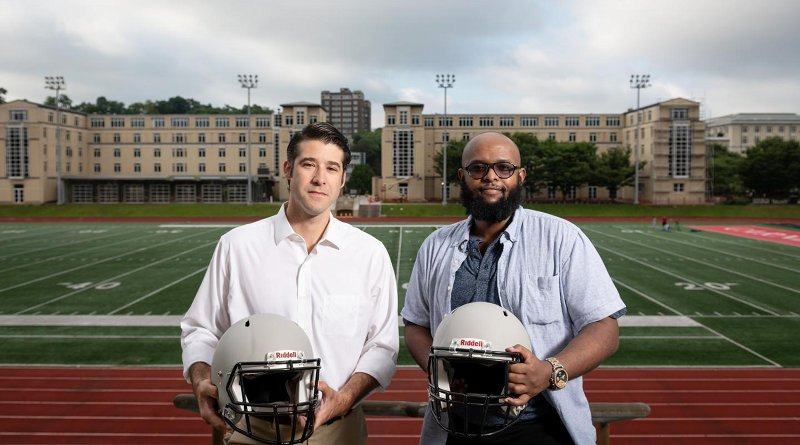 From left to right: Brad Mahon, an associate professor of psychology at Carnegie Mellon University and scientific director of the Program for Translational Brain Mapping at the University of Rochester, and Adnan Hirad, an M.D./Ph.D. candidate at the University of Rochester's Medical Scientist Training Program, led a study of college football players that found typical hits sustained from playing just one season cause structural changes to the brain. Credit Carnegie Mellon University