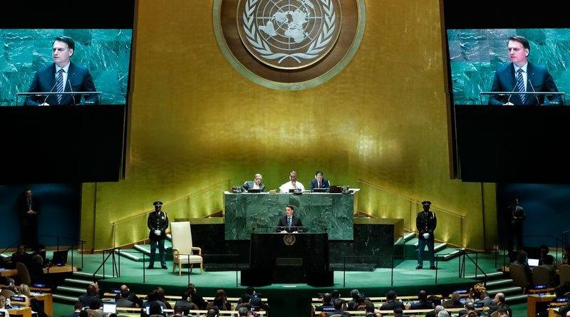 Brazilian President Jair Bolsonaro speaking at UN. Photo Credit: Alan Santos/PR, Agencia Brasil
