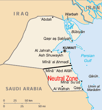 Map of the Saudi - Kuwaiti Neutral Zone. Source: U.S. Energy Information Administration, Central Intelligence Agency World Factbook