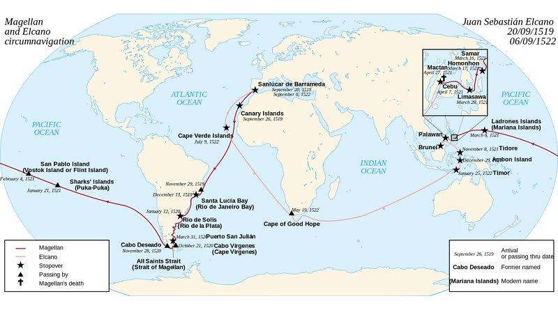 Magellan-Elcano voyage. Credit: Wikipedia Commons