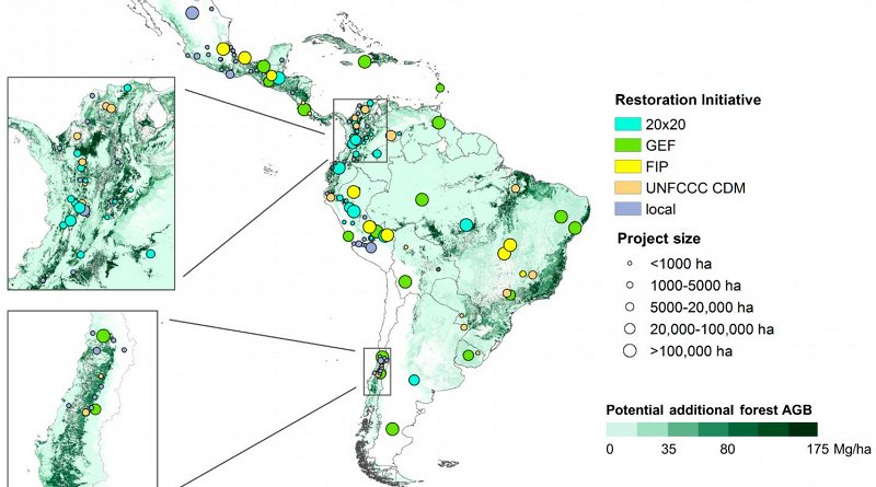 The map shows the location of 154 land restoration projects in Latin America and the Caribbean that were part of this study. Credit Erika Romijn et al.