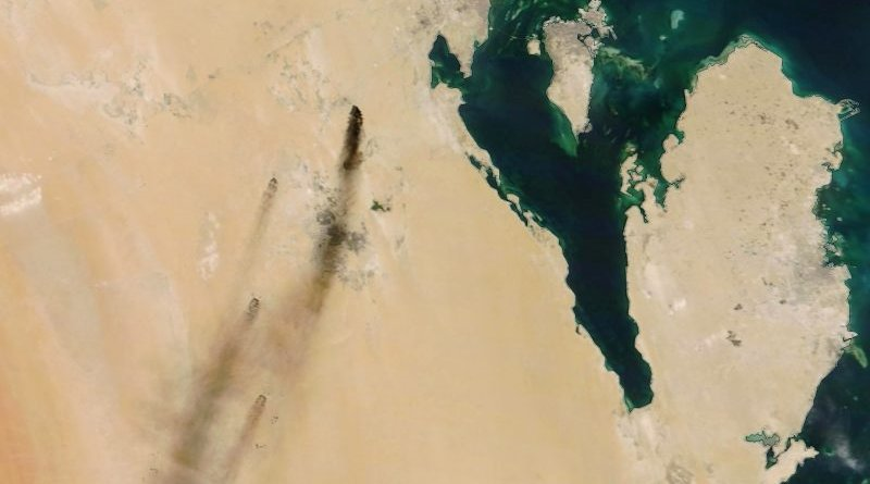 A handout photo made available by NASA shows a satellite image of smoke from fires at two major oil installations in eastern Saudi Arabia, 14 September 2019. Photo Credit: NASA