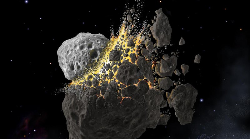 This is an illustration of the giant asteroid collision in outer space that produced the dust that led to an ice age on Earth. Credit (c) Don Davis, Southwest Research Institute