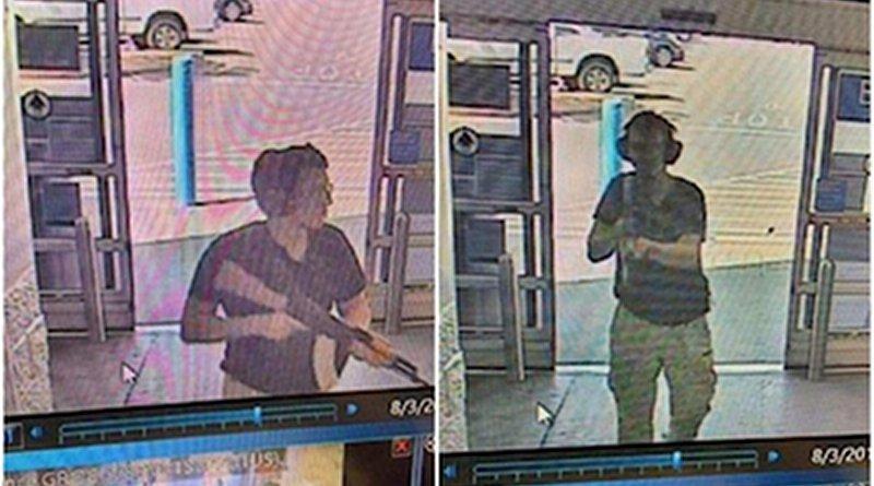 Surveillance camera screenshots showing the gunman at the Walmart entrance in El Paso, Texas. Credit: Wikipedia Commons.