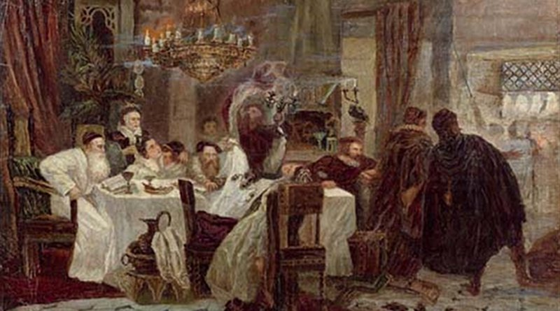 Marranos: Secret Seder in Spain during the times of inquisition, an 1892 painting by Moshe Maimon