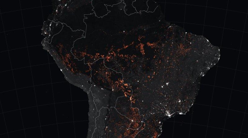 Amazon fires 15-22 August 2019. satellite image taken by MODIS. Credit: NASA