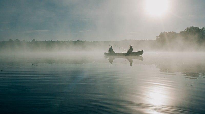 pond fishing canoe