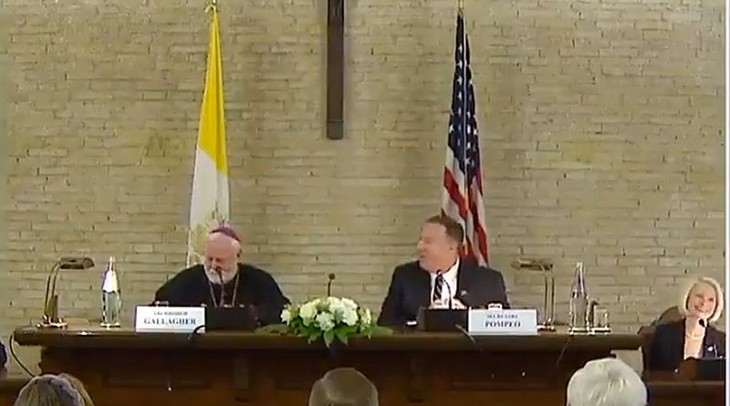 US Secretary Mike Pompeo and Vatican Secretary Archbishop Paul Gallagher at the Vatican symposium Oct. 2, 2019. Credit: US State Department video screenshot