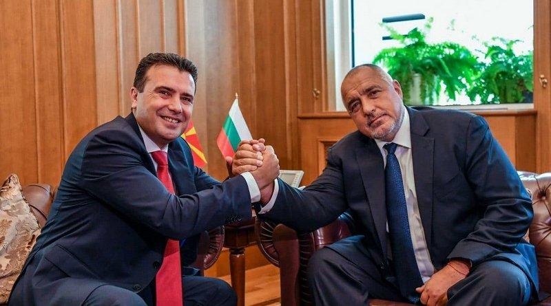 North Macedonia's PM Zoran Zaev [l] and Bulgaria's PM Boyko Borissov [r] during a celebration of the anniversary of the friendship treaty 2019 summer. Photo: gov.mk