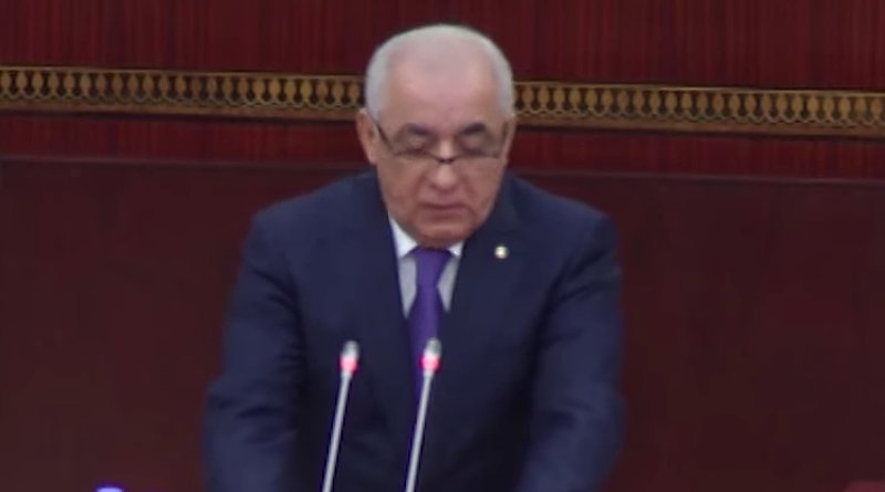 Screenshot of Ali Asadov addressing Azerbaijan's parliament after being confirmed as the country's new prime minister.