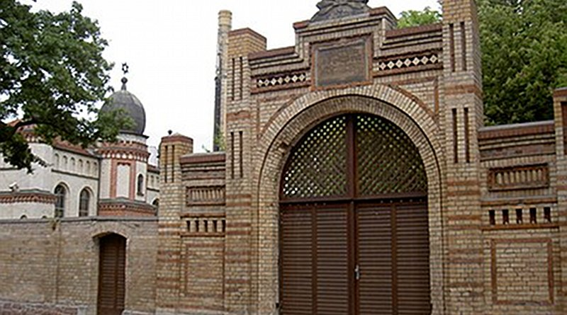 Entrance to the synagogue of Halle, Germany. Photo Credit: Allexkoch, Wikipedia Commons.