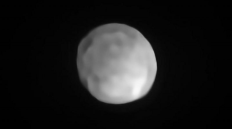 A new SPHERE/VLT image of Hygiea, which could be the Solar System's smallest dwarf planet yet. As an object in the main asteroid belt, Hygiea satisfies right away three of the four requirements to be classified as a dwarf planet: it orbits around the Sun, it is not a moon and, unlike a planet, it has not cleared the neighbourhood around its orbit. The final requirement is that it have enough mass that its own gravity pulls it into a roughly spherical shape. This is what VLT observations have now revealed about Hygiea. Credit ESO/P. Vernazza et al./MISTRAL algorithm (ONERA/CNRS)