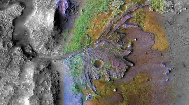 Jezero crater, where NASA plans to land a new Mars rover next year, is home to the remains of an ancient river delta. Researchers have now found deposits of hydrated silica, a mineral that's especially good at preserving microfossils and other signs of past life, near the delta. CREDIT NASA/JPL/JHUAPL/MSSS/Brown University
