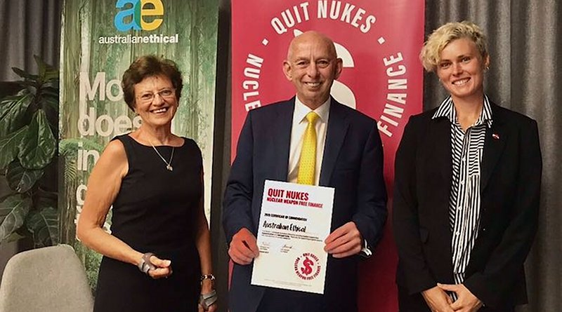 Photo (L-R): Quit Nukes Director Margaret Peril, Australian Ethical Acting CEO Steve Gibbs, ICAN Australia Director Gem Romuld. Source: Quit Nukes.