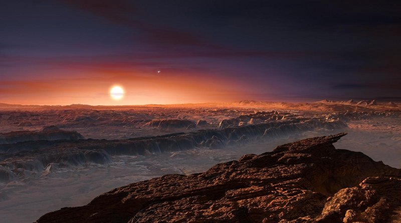 The nearest exoplanet Proxima Centauri b is situated in a multiple star system. This is what the system might look like when seen from the planet's surface (artist's impression). CREDIT (Photo: ESO/M. Kornmesser)