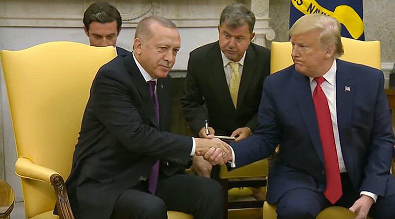 US President Donald Trump and Turkey's President Recip Tayyip Erdogan at the White House. Photo Credit: White House video screenshot
