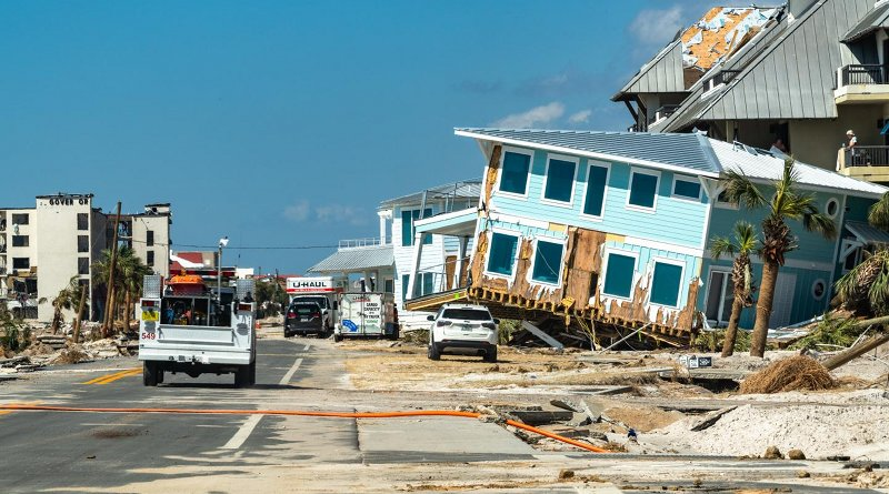 An Oct. 14, 2018, view of Mexico Beach, Fla., shows the aftermath of Hurricane Michael making landfall four days earlier. Credit K.C. Wilsey, FEMA